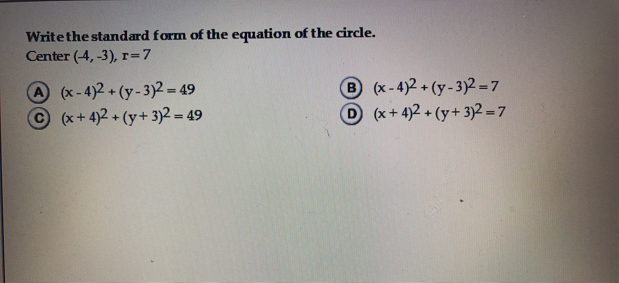 Write the standard form of the equation of the circle center 4 question image falaconquin